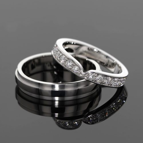 White gold wedding rings with diamonds, Mauritius