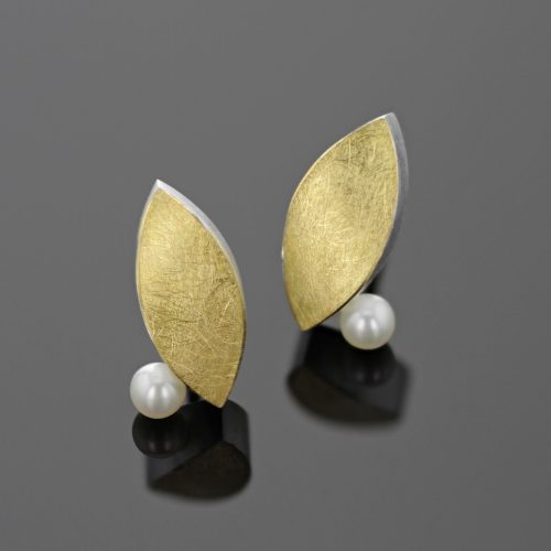 Silver and gold pearl earrings