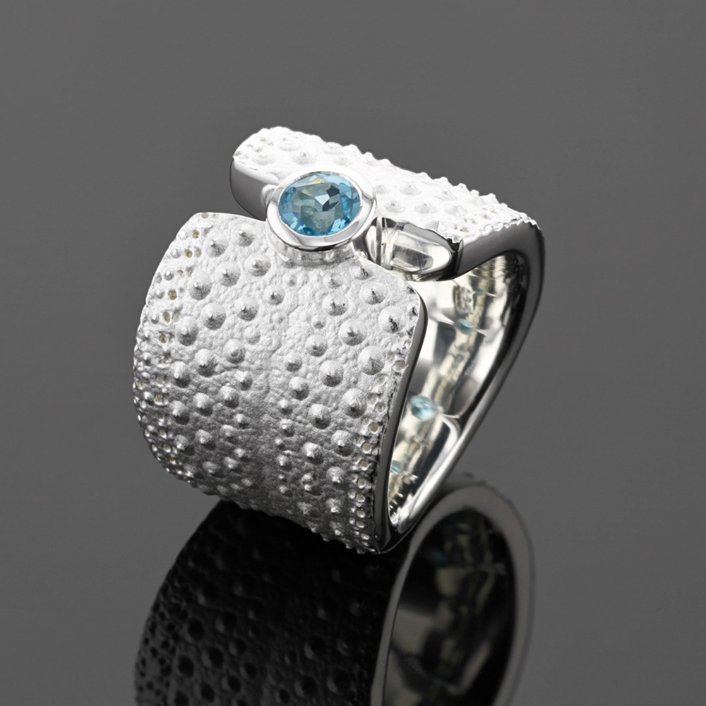 silver ring with sea urchin texture, Mauritius