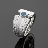 Sea urchin ring in silver with Blue Topas, Mauritius