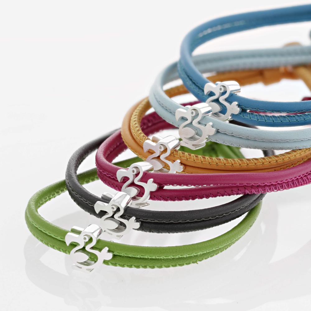 silver dodo on leather bracelets, different colours,Mauritius