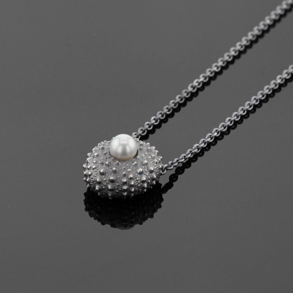 sea urchin pendant on silver chain with white pearl,Mauritius