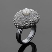 oxidized silver ring sea urchin with white pearl made in Mauritius