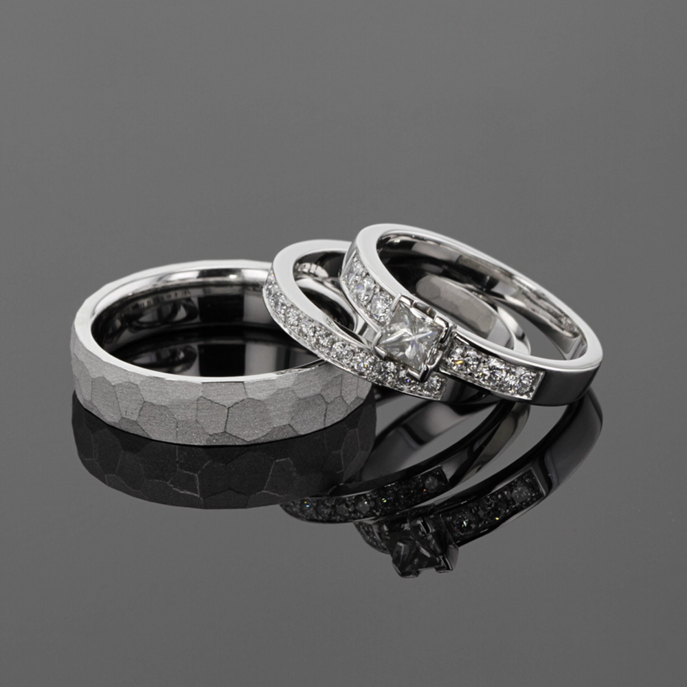 white gold wedding ring and engagement rings with diamonds