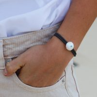 Silver sea urchin bracelet with blue topas