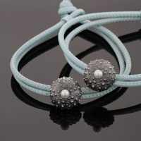 leather bracelet with black silver sea urchin charm, Mauritius