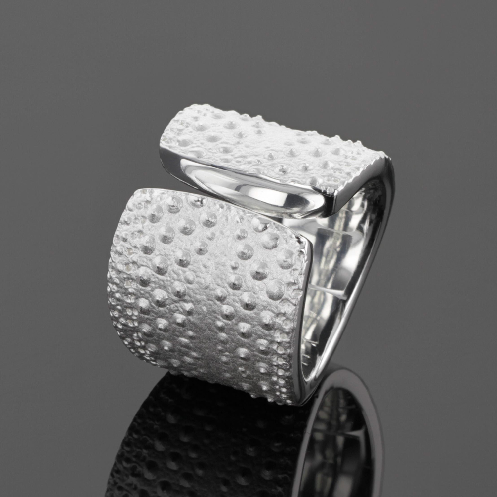 Sea urchin ring, silver, mauritius