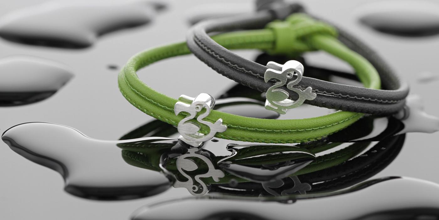 leather bracelet with silver dodo, Mauritius, souvenir