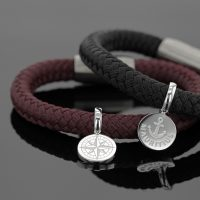 Bracelet for men with silver charms