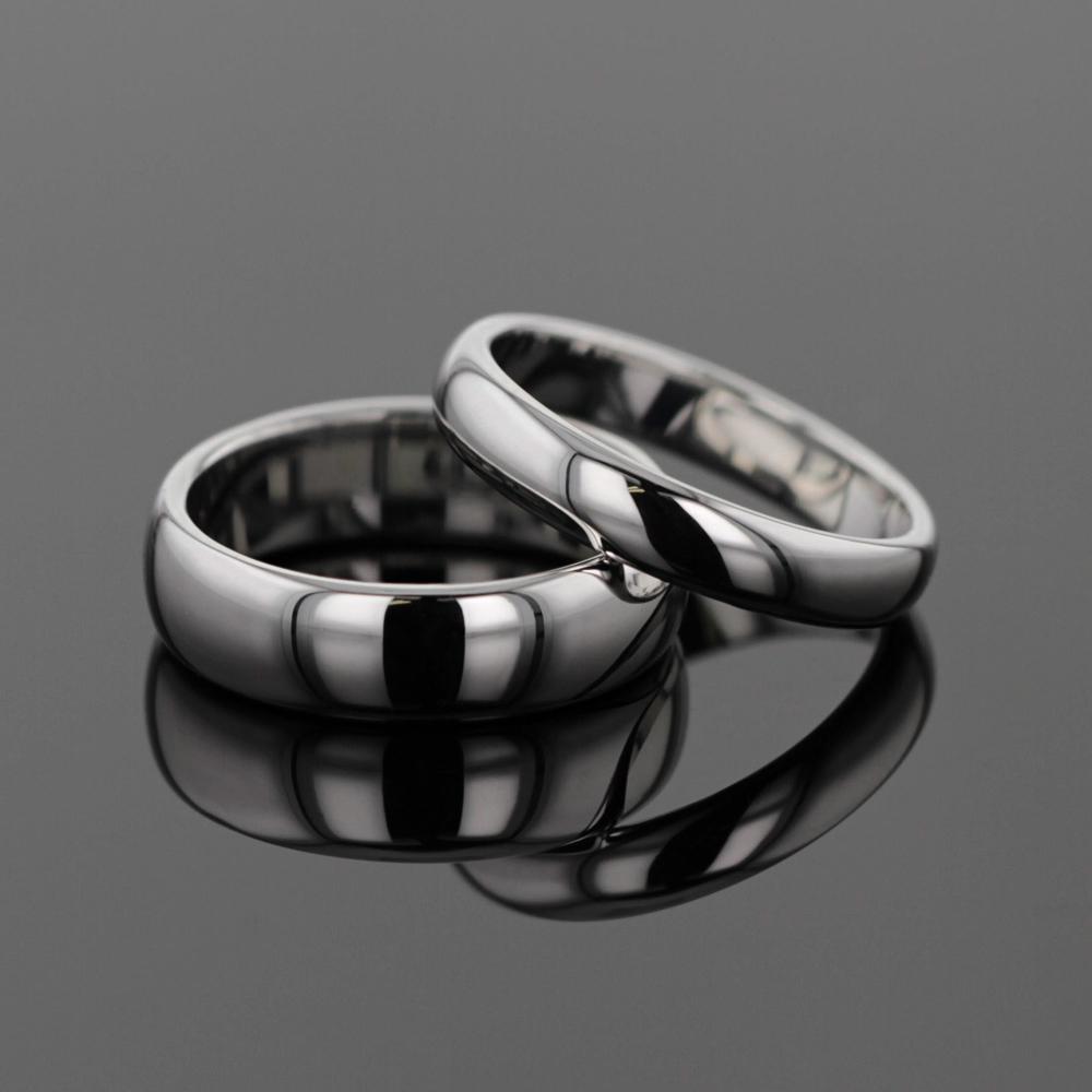 polished wedding rings in white gold, Mauritius