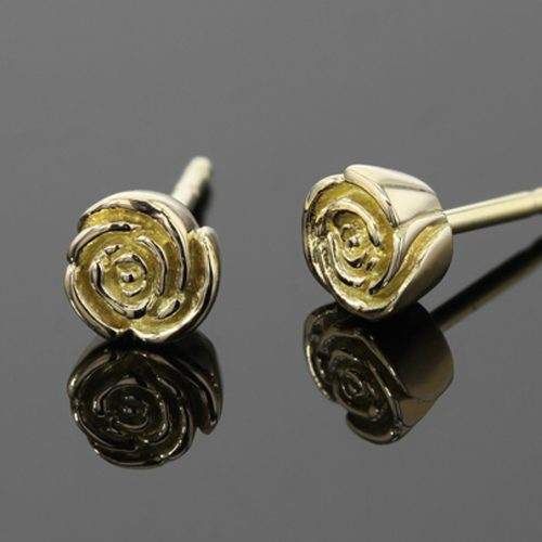 rose shaped gold studs