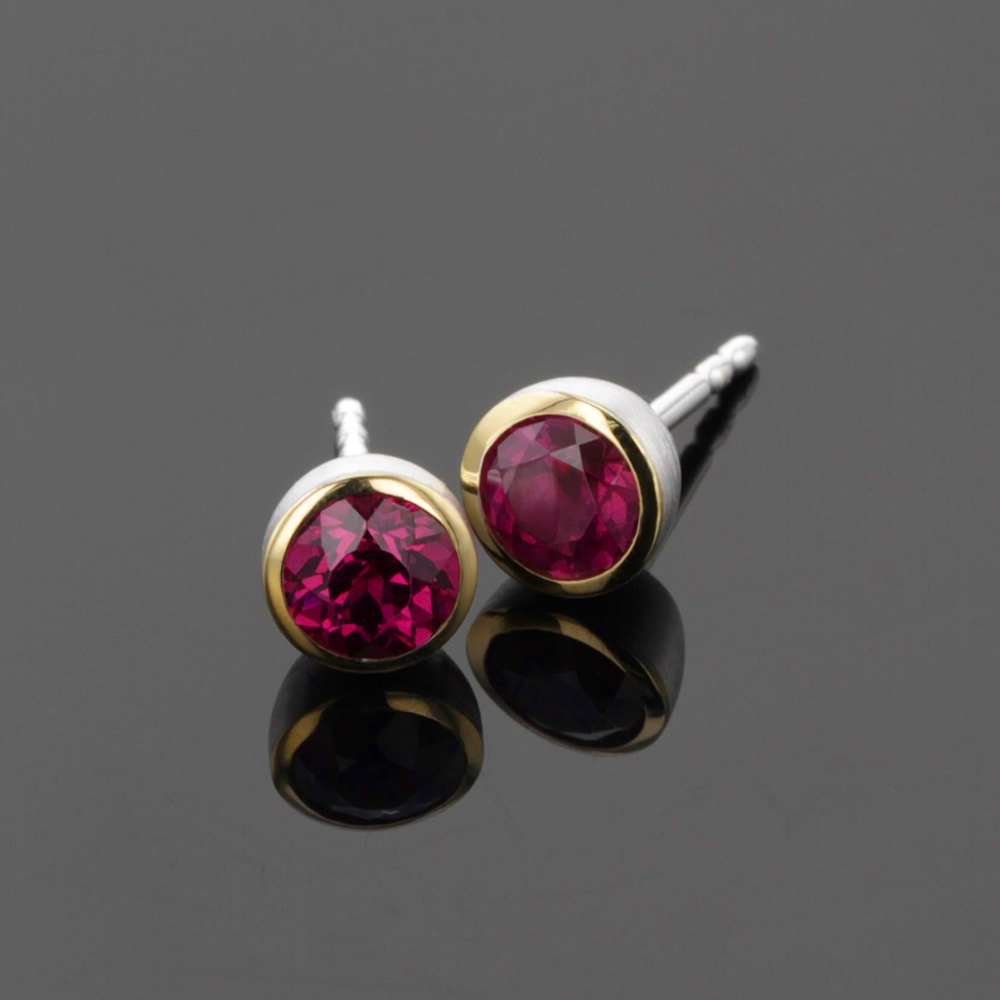 Silver and gold earrings with rhodolite, Mauritius