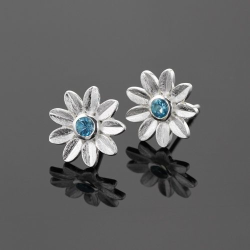 Blue Topas and silver earrings