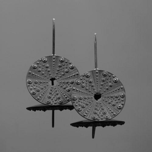 Oxidised sea urchin earrings