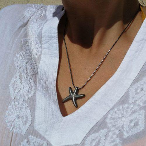 Black silver seastar pendant