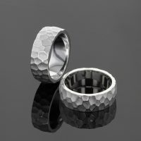 Unique textural rings in silver